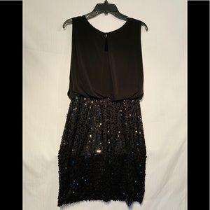 Blouson Top Black Stretch Sequin Dress Size 6